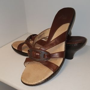 Sofft slip on brown heeled sandals size 10